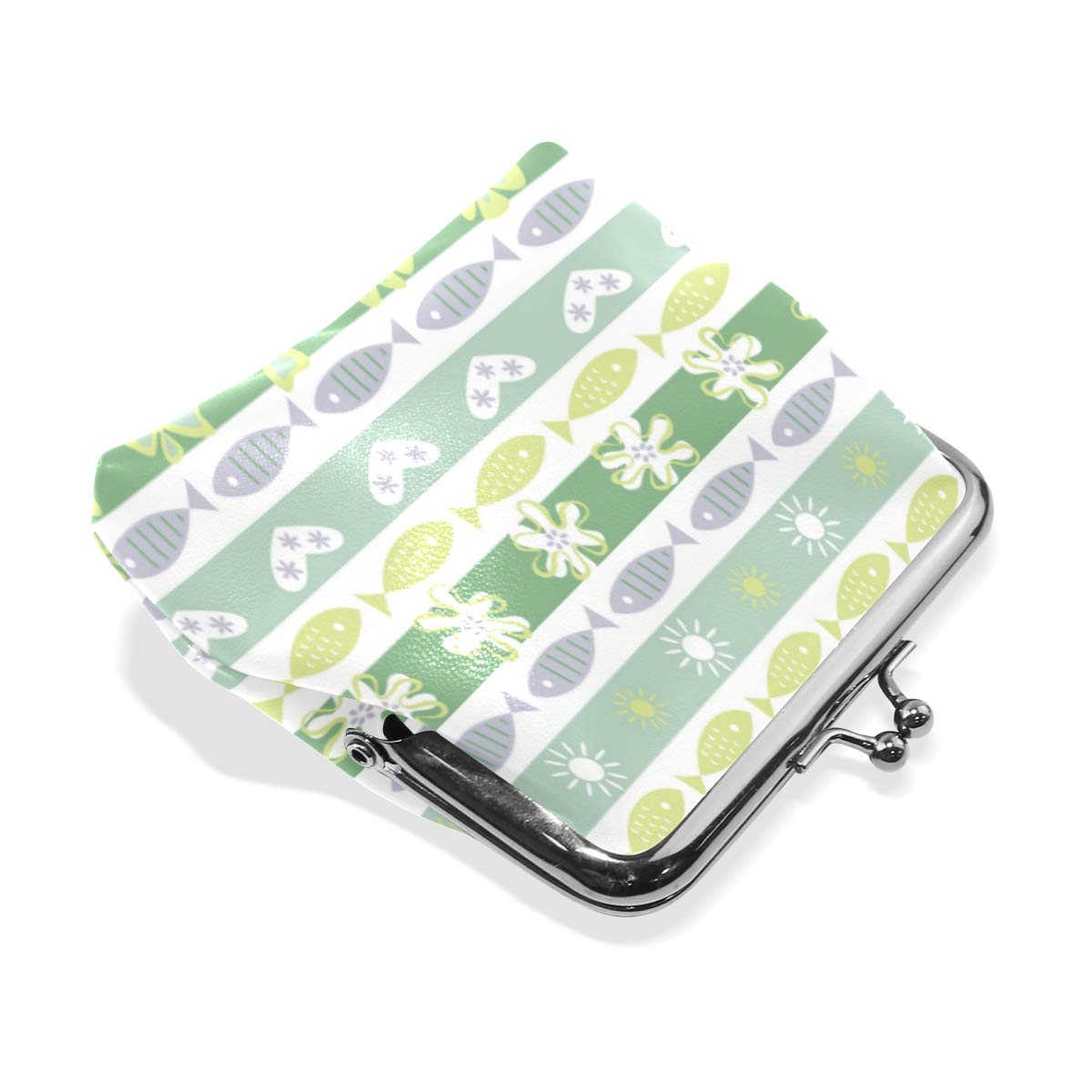 Womens Leather Kiss Lock Double-Sided Tropic Affair Coin Purse Wallets