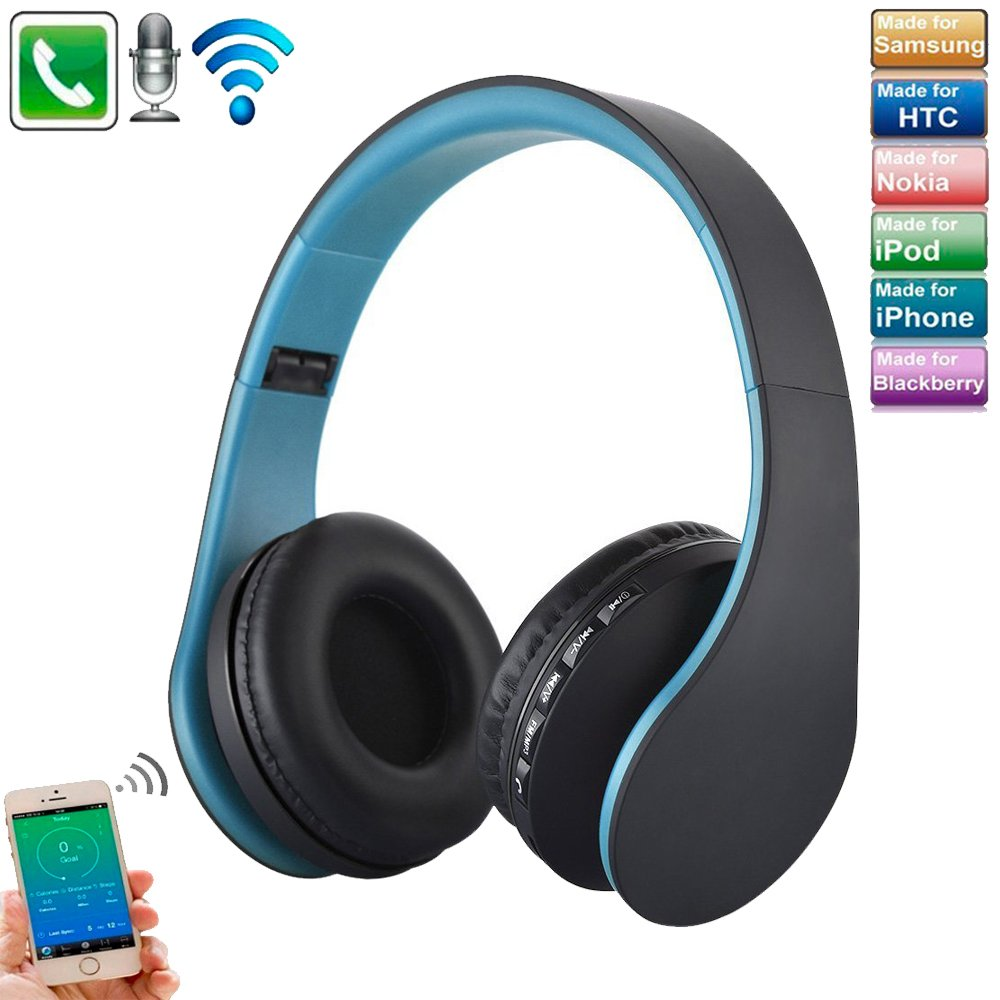 TechCode Bluetooth Stereo Headset, Foldable Wireless Headphones Digital 4 in 1 Over Ear EDR Headphones Wired Earphone w/Mic Support SD/TF Card/3.5mm Audio Input for Samsung S9/S8/S7,iPhone X/8/7,Blue