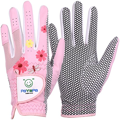 GH Womens Leather Golf Gloves One Pair - Flower Printed Both Hands (Pink, 21 (L))