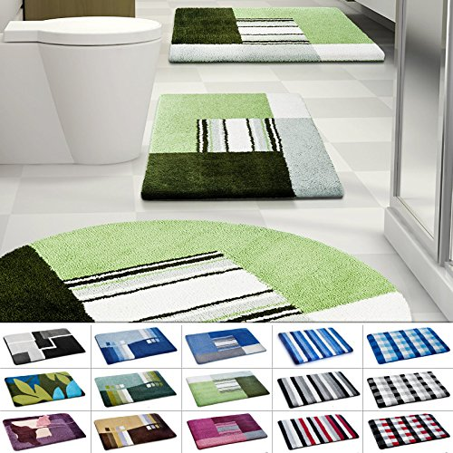 casa pura Design Bathroom Rug | Non-Slip Bath Mat for Floors | Green & Cream | Multiple Sizes Available | 24