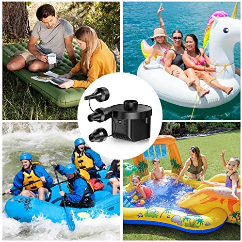 Electric Air Pump, Karvipark Portable Quick-Fill Universal Pump with 3 Nozzles, Inflator Deflator Pump 110V AC/12V DC for Air Mattress Bed, Boats, Outdoor Inflatable Pool Toys, Swimming Ring