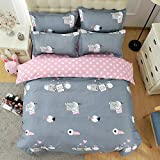 4pcs Kids Beddingset Duvet Cover Set Duvet Cover Bedsheet Pillowcase Twin Full Queen HM Spotted Dog Design (Twin, Naughty Pig)