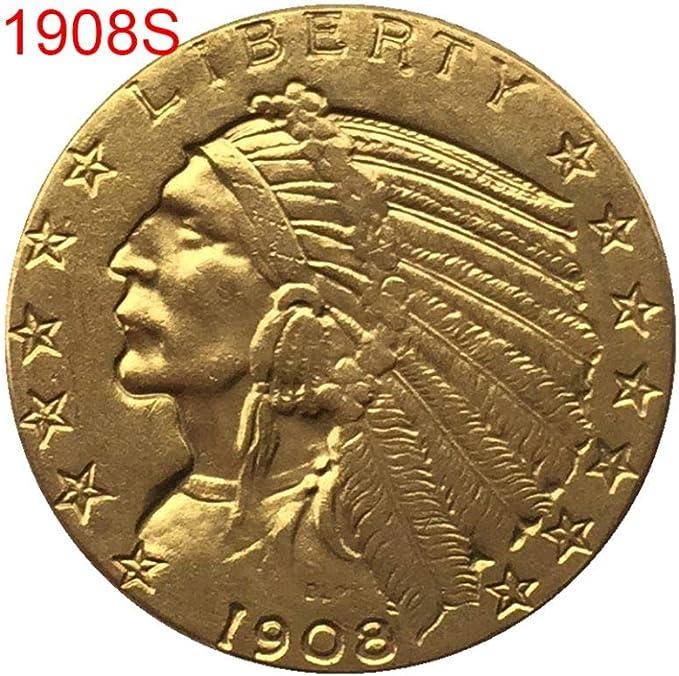 Yalatan Creative 1908/1926 Moneda Antigua Conmemorativa Antigua de EE. UU, Memoria Vintage chapada en Oro Coleccionable artesanía de Monedas Decoraciones de Recuerdo de Arte: Amazon.es: Hogar