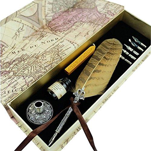 Antike Eulenfeder Metallüberzogener Stift Schreibfeder PA-10