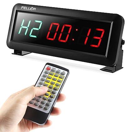 PELLOR Temporizador con Pantalla LED, Reloj de Pared 6 Dígitos LED Temporizador de Intervalos ,