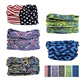 Oureamod Wide Headbands for Men and Women Athletic Moisture Wicking Headwear for Sports,Workout,Yoga Multi Function (Flag)