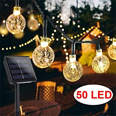 Upoom Garden Solar Lights, 50 LED Outdoor String Lights Garden Crystal Ball Decorative Lights 24Ft Waterproof Indoor Outdoor Fairy Lights for Garden, Patio, Yard, Christmas : Garden & Outdoor