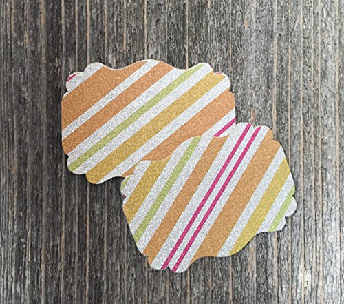 50 Blank Glitter Silver Stripe Scalloped Edge Bracket Hang Tags Tag - Wedding Party Card from Bella Supply Boutique