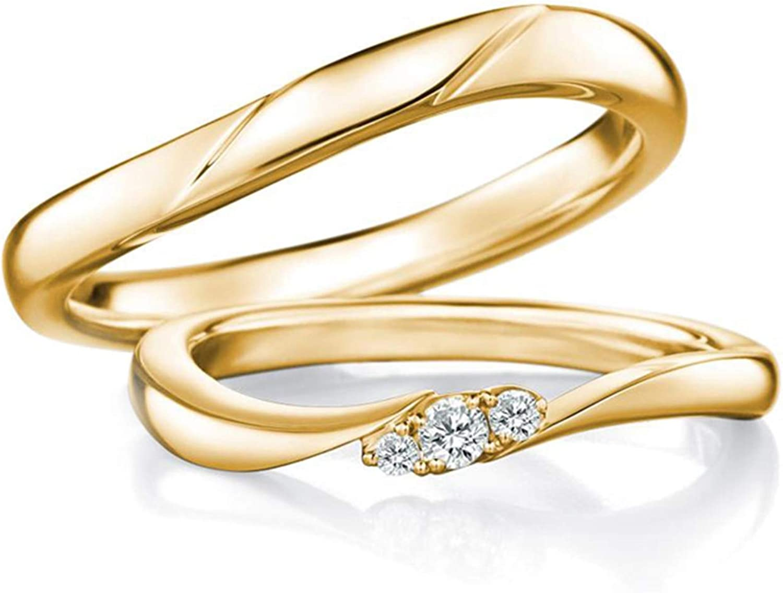 Epinki Anillo Or 18k Curva Diamante 0.08ct Anillos Compromiso Hombre