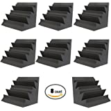 "Acoustic Foam XL Bass Trap Studio Soundproofing Corner Wall 12"" X 12"" X 12"" (8 PACK)"