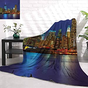 WilliamsDecor Urban,Manhattan Sunset Skyline Famous New York Cityscape High Rise Buildings Skyscrapers,Multicolor Children Size Soft Blanket Home Accessories Bedroom W60 x L90 Inch