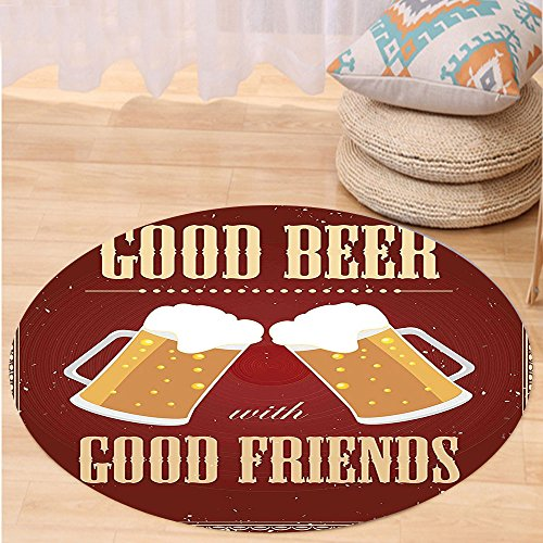 VROSELV Custom carpetVintage Decor Good Beer with Good Friends Lettering Two Big Glass in Classic Frame Buddies Image for Bedroom Living Room Dorm Red Round 47 inches