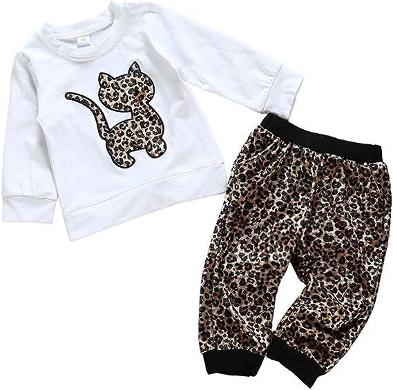 Ropa NiñOs NiñA BebéS Manga Larga Gato Leopardo Camiseta Tops ...