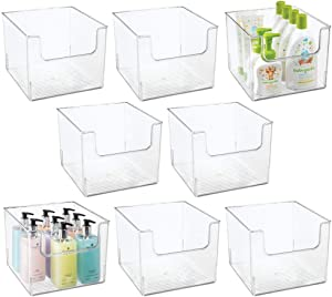 mDesign Plastic Open Front Bathroom Storage Organizer Basket Bin - for Cabinets, Shelves, Countertops, Bedroom, Kitchen, Laundry Room, Closet, Garage - 8 Pack - Clear