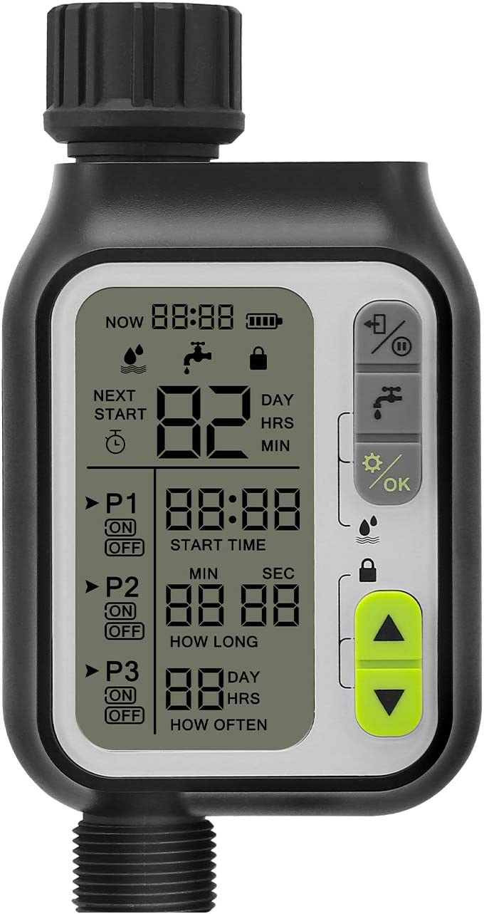 "Digital Water Timer,POLAME Programmable Garden Lawn Hose Timer Irrigation System Controller-3"" Screen/IP65 Waterproof/Child Lock Mode/Auto&Manual Operation"