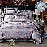 MKXI Classical European Satin Jacquard Silky Duvet Cover Set Luxury Paisley Modern Bedding Queen Set