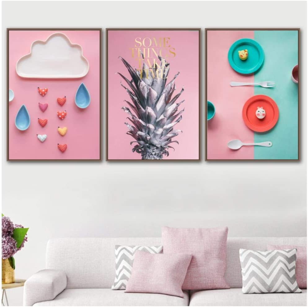 woplmh Colorful Baby Tableware Cloud Pineapple Canvas Painting Sweet Nordic Posters Wall Pictures for Kids Room Home Decor-50x70cmx3Pcs no Frame