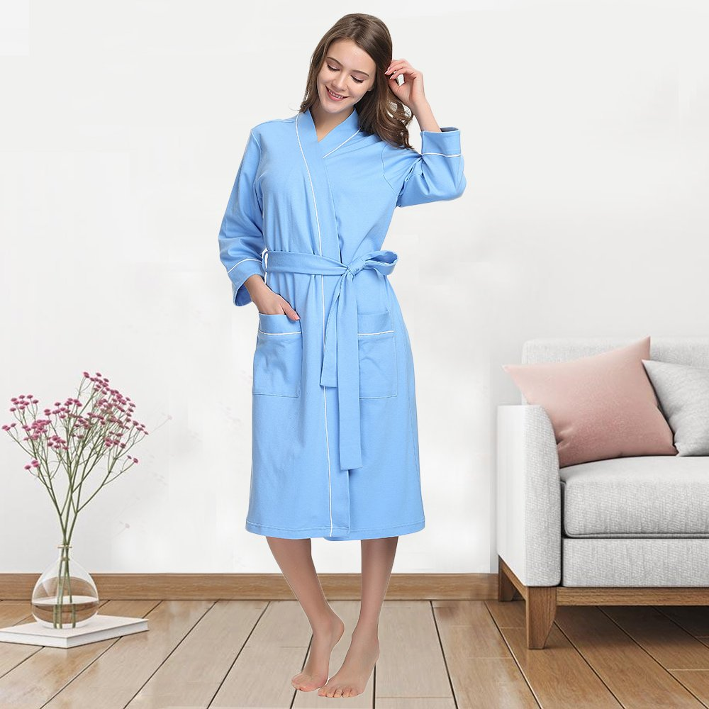 f3d96021e1ca M M Mymoon Womens Cotton Robe Soft Kimono Spa Knit Bathrobe Lightweight Long   1540908186-120153  -  17.03