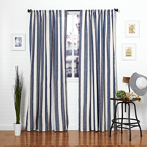 Rod Blanco - Homier Navy Blue Striped Linen Blend Window Curtain/drape/panel/treatment/covering - Rod Pocket Panel - Nautical Wide Denim Stripes on Modern White/Cream Linen - 50 x 84 Inches, 2 Panels Pair