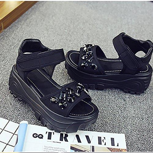 Bininbox Femmes Strass Plate-forme Sandales Chaussures Dété Noir