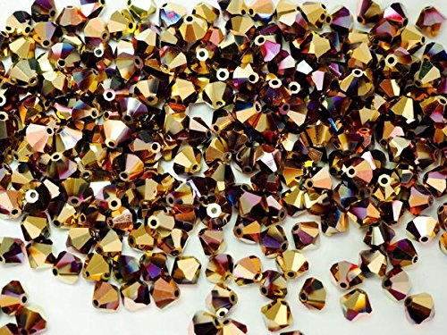 (8mm Jet California Pink coated (Black, Aurum, Copper), Czech MC Bicone Beads (Rondell, Diamond Shape Crystals), 0.5 gross = 72 pieces)