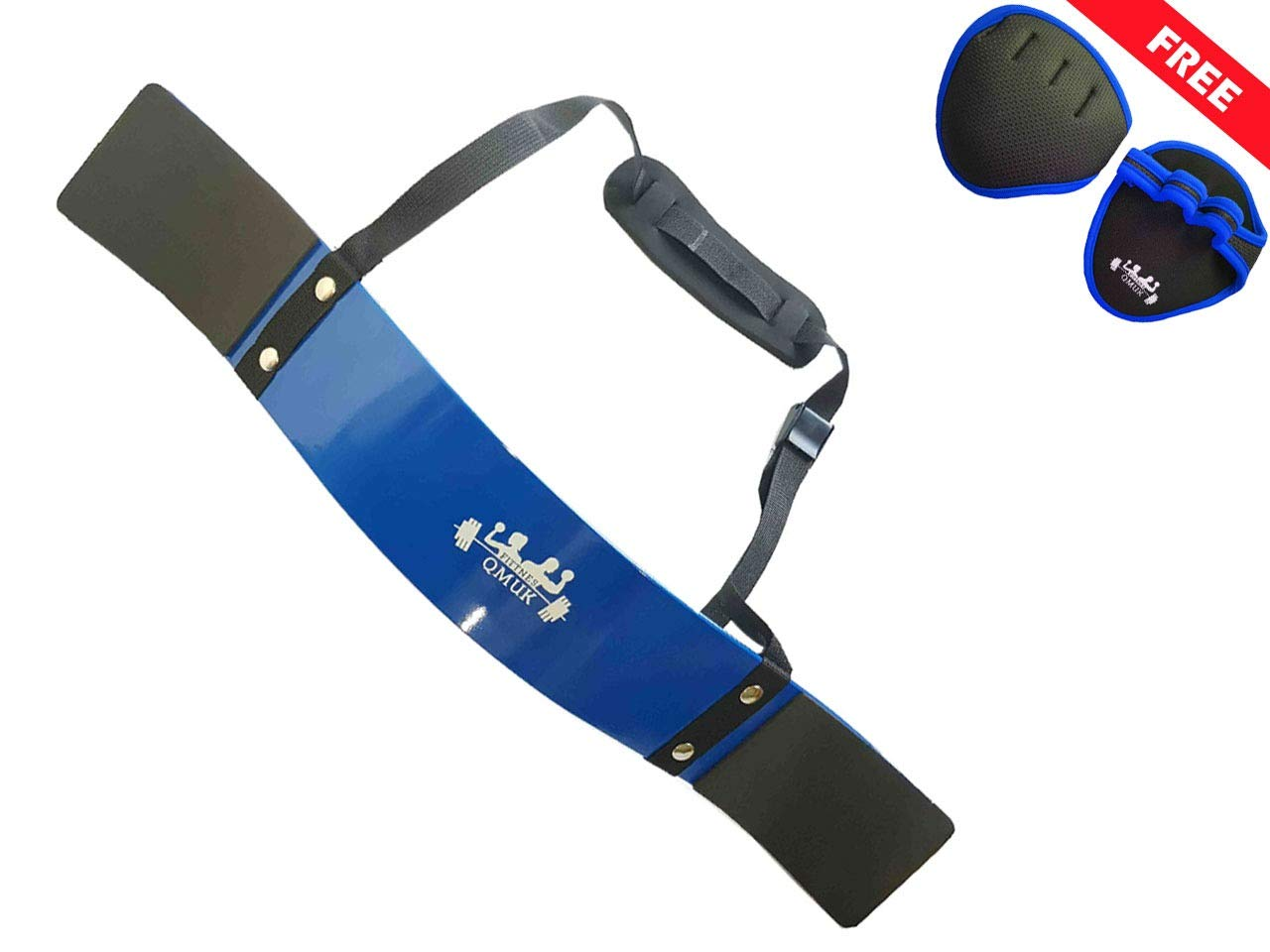 QMUK Arm Blaster for Bicep and Triceps Workout and Curel, Arm Muscle Strength, Bodybuilding & Weight Lifting Support with Neoprene Padding and Adjustable Strap for Safe Workout (Blue)