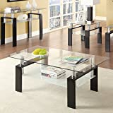 Coaster 702288-CO Glass Top Coffee Table, Black