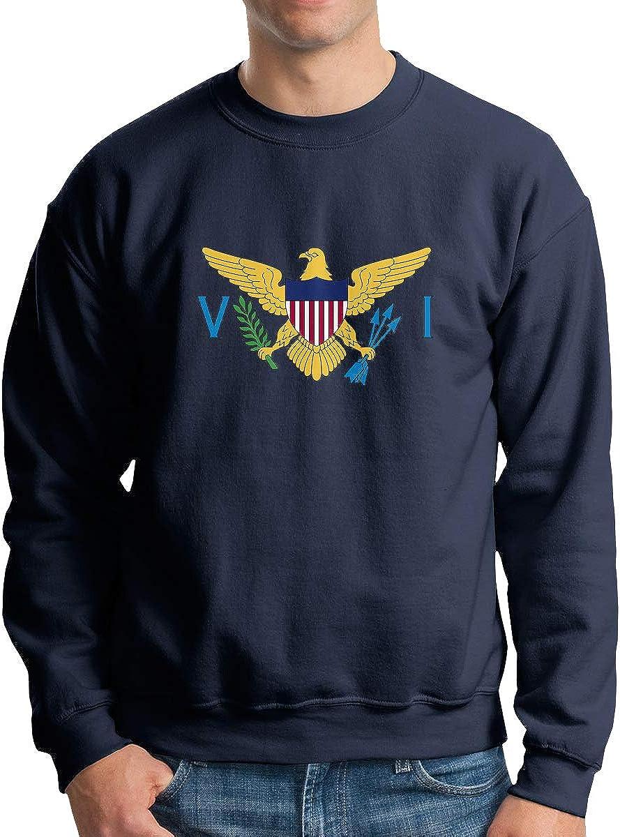 Flag of The United States Virgin Islands Mens Sweatshirts Pullover Crew Neck Sweatshirt