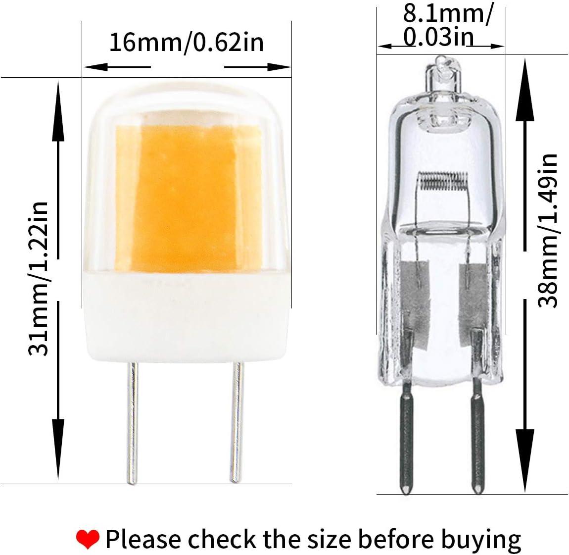 3W 300 Lumen AC 120V G8 LED Bulb 10-Pack Dimmable G8//GY8.6 Bi-Pin Base Light Bulbs G8 Bulbs for Under Cabinet Counter Light 25W Equivalent 3000K Warm White