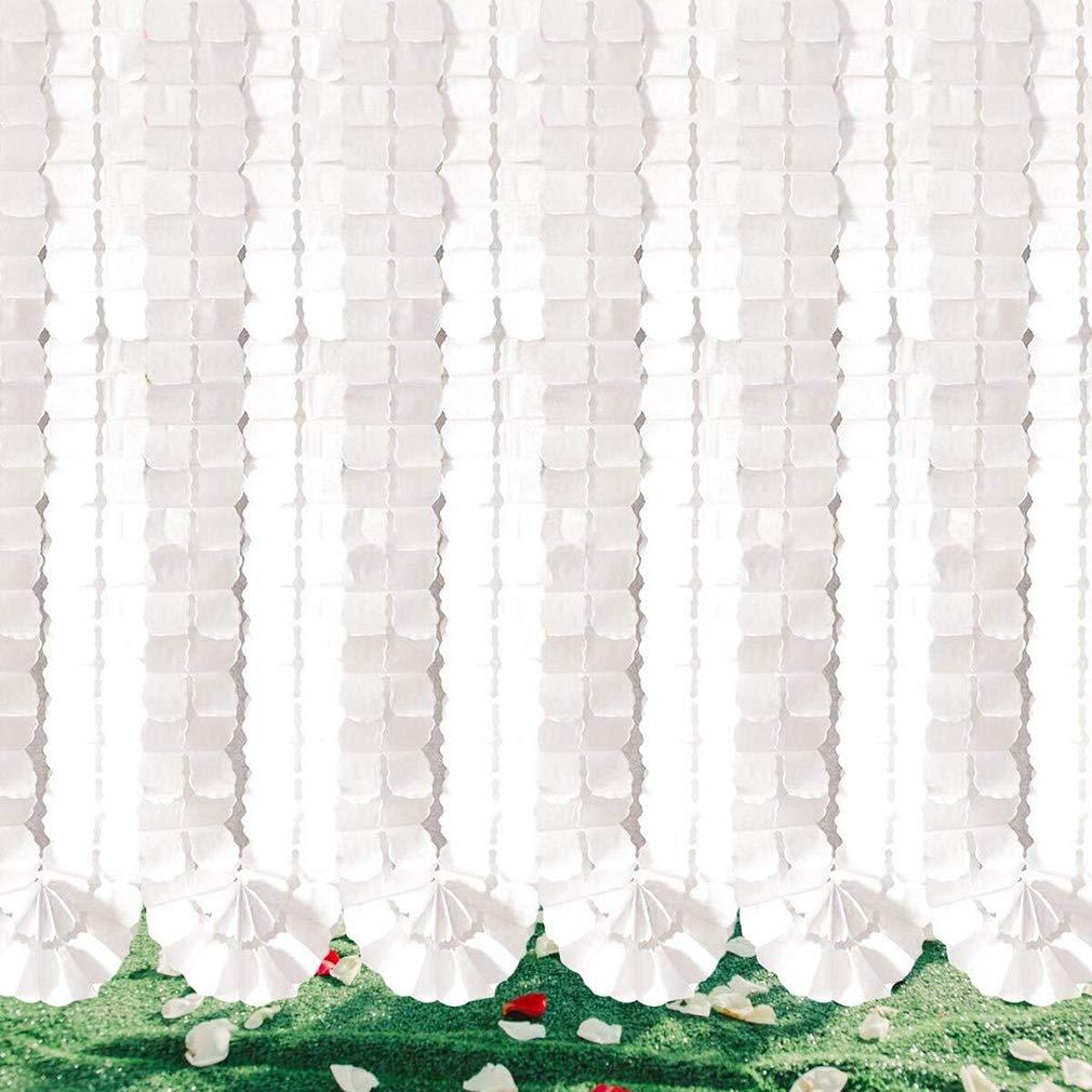 3.6M Lang jeder //Satz von 6 junkai Wiederverwendbare h/ängende Girlande-vierbl/ättriges Seidenpapier-Blumen-Partei-Luftschlangen f/ür Weihnachtsfest-Hochzeits-Dekorationen