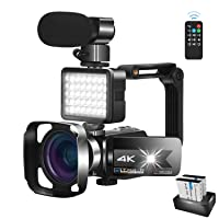 Video Camera Camcorder with Microphone 56.0MP Real 4K Camcorder WiFi Camera Live Streaming Webcam Recorder YouTube Vlogging Camera Video Recorder Photography Stabilizer Remote Control, 2 Batteries