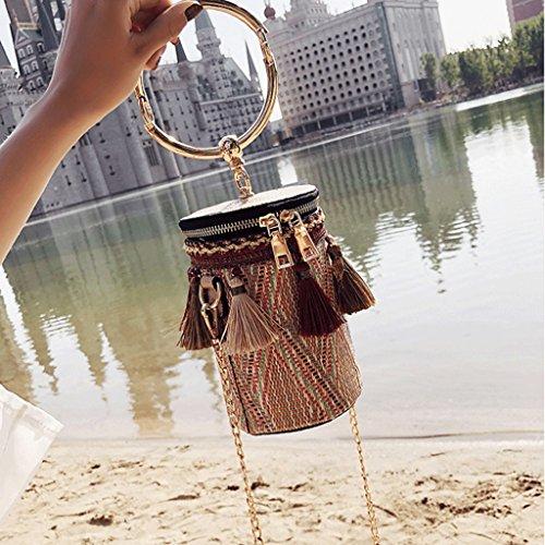 Cadena Mensajero Moda Handbag Mini la de Bolso la Borla Color de la Red Bolso Bolso de de del El Red Coreano Bolso Hombro A Nuevo 00wvTqf