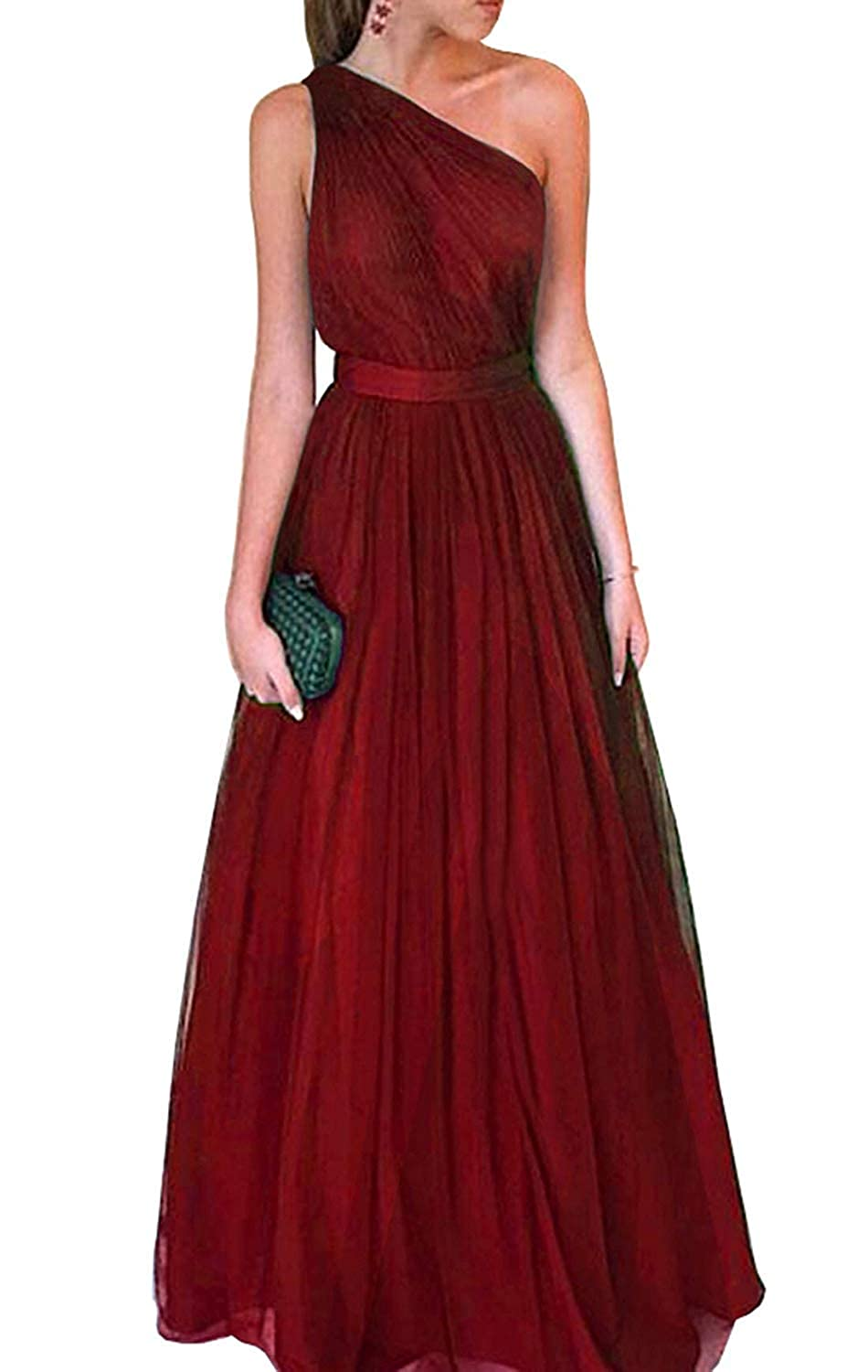 Red Dreagel Women's One Shoulder Prom Dresses Long Ruched Bridesmaid Dress Evening Gowns