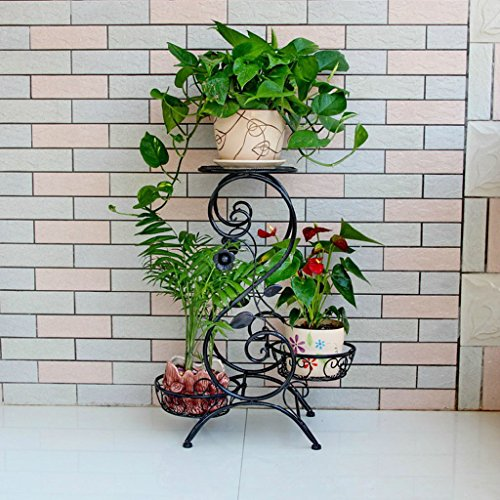 ZGP @Plant stand Iron Flower Pot Rack, 3 Tiered Plant Display Stand Bonsai Holder Home Garden Patio Decor Shelf Holds Black/White (Color : B, Size : 665025CM) by ZGP