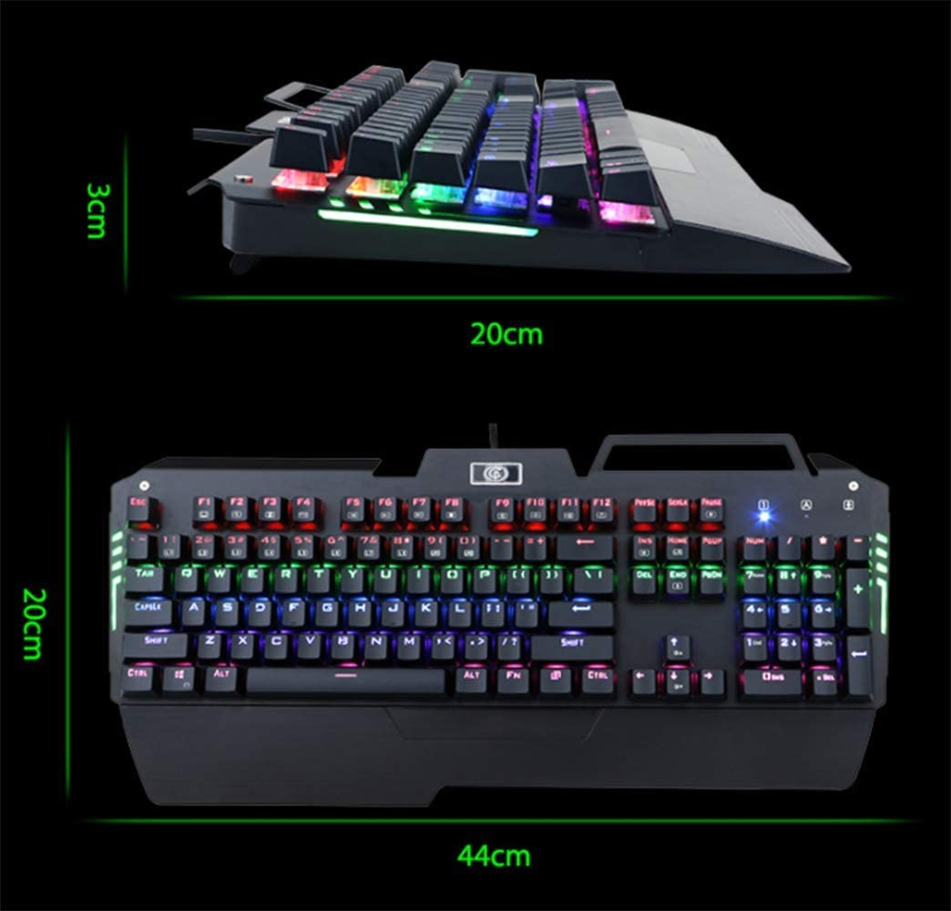 Palm Rest Personalized Backlit Buttons USB Direct and Media Control Aluminum Base YWT RGB LED Backlit Wired Mechanical Gaming Keyboard