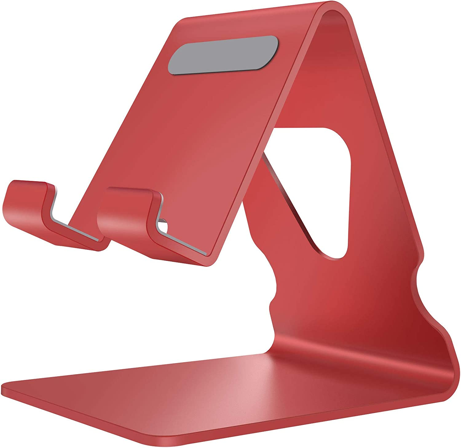 Cell Phone Stand Holder for Desk Aluminum Desktop Cellphone Cradle Dock with Cable Collective, Anti-Slip Base and Convenient Charging Port for iPhone, Bedside Table, Office-Red