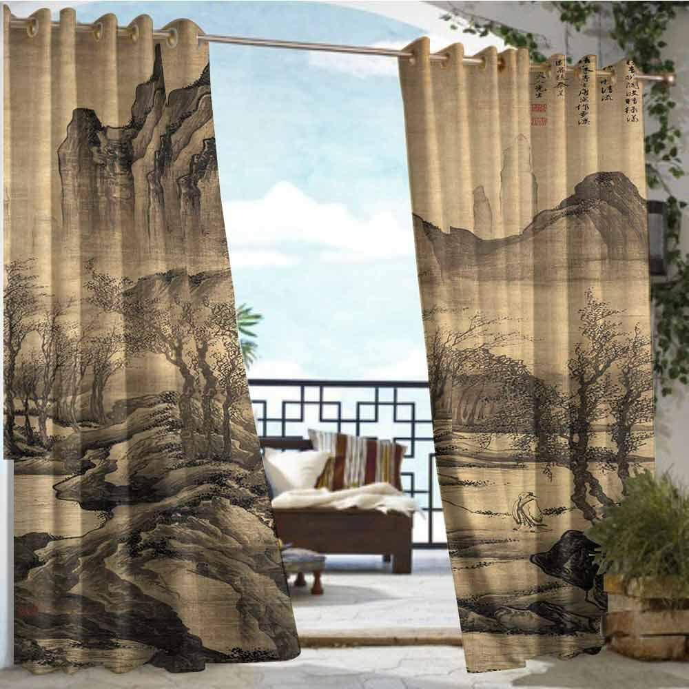 Andrea Sam Exterior/Outside Curtains Old Village Illustration,W96 xL84 Silver Grommet Top Drape by Andrea Sam