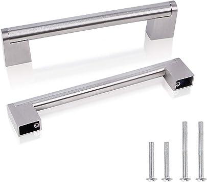 Bow Door Handle for Kitchen Draw ~ 128mm centres ~ Matt Nickel Finish Cupboard