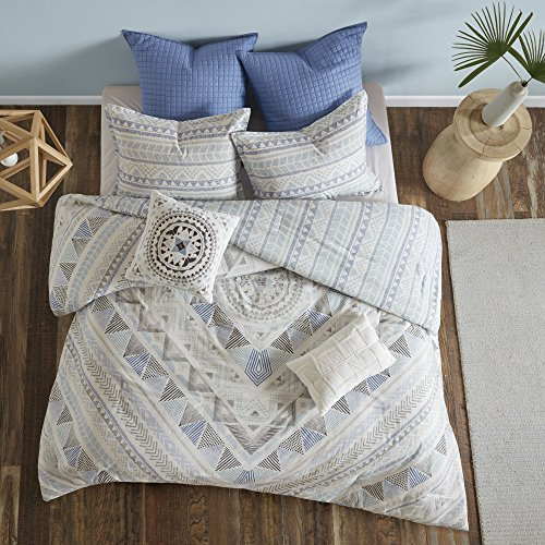 7 Piece Light Blue Grey Abstract Comforter King Cal King California Set, Sky Blue White Gray Aztec Striped Geometric Medallion Mandala Pattern, Reversible Stripe Adult Bedding Master Bedroom, Cotton