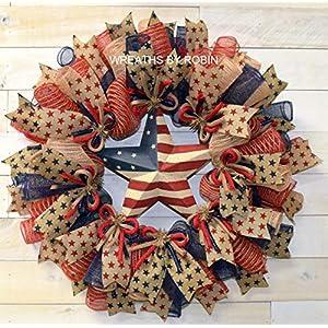 Patriotic Rustic Burlap Star Wreath, 4th of July wreath, Burlap Deco Mesh Wreath (2044) 16