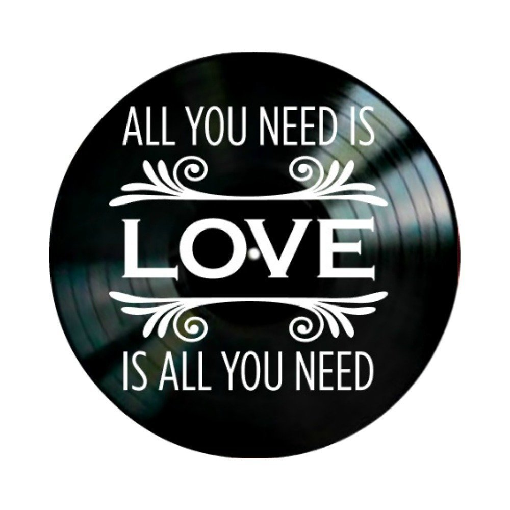 Beatles All You Need is Love Lyrics on a Vinyl Record Album Wall Art