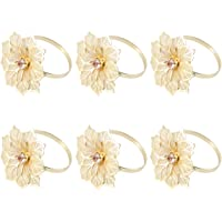 BESTONZON 6pcs Napkin Rings Serviette Buckles Holders Flower Shape Dining Table Decorations Party Supplies for Wedding Birthday Supplies (Gold)