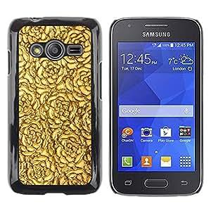 TopCaseStore / la caja del caucho duro de la cubierta de protección de la piel - Golden Roses Wallpaper Pattern Surface - Samsung Galaxy Ace 4 G313 SM-G313F