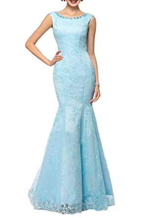 DressyMe Womens Lace Mermaid Wedding Dress Formal Gown Beads-6-Blue