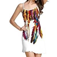 Yanhoo-- Vestiti Donna Estivi Eleganti Abito Abiti Sera, Moda donna Spaghetti Strap floreale stampa spiaggia stile skater una linea mini dress