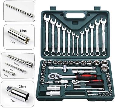 Juego de llaves de vaso de 61 piezas Kit de herramientas de reparación de automóviles profesional Hardware Caja de herramientas Herramienta de reparación de embarcaciones de automóviles: Amazon.es: Bricolaje y herramientas