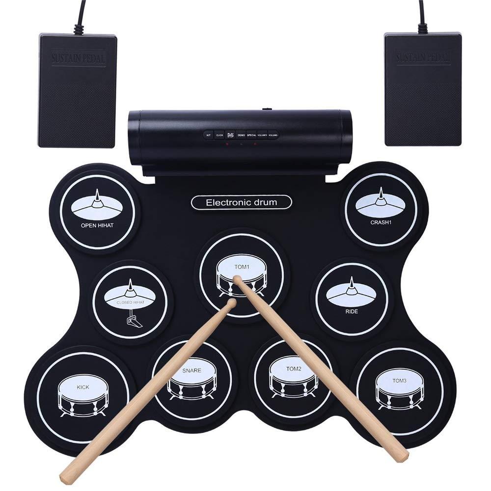 YyZCL Kit de batería Enrollable Instrumento de percusión de Silicona Gruesa, Tambor de Tambor de Silicona portátil, Tambor de Jazz, Tambor electrónico USB Cojines de práctica con Baquetas