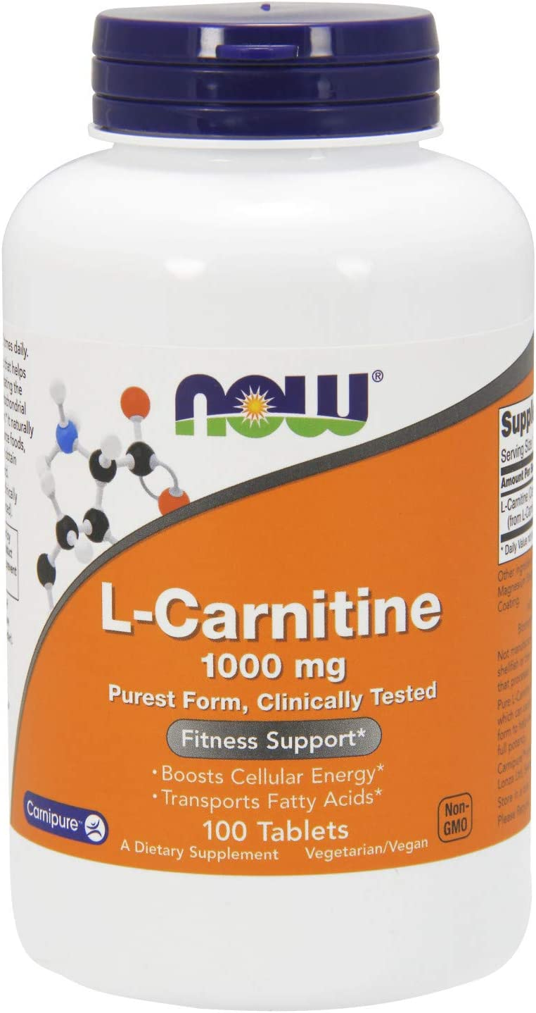 NOW Supplements, L-Carnitine 1,000 mg, Purest Form, Amino Acid, Fitness Support*, 100 Tablets: Health & Personal Care