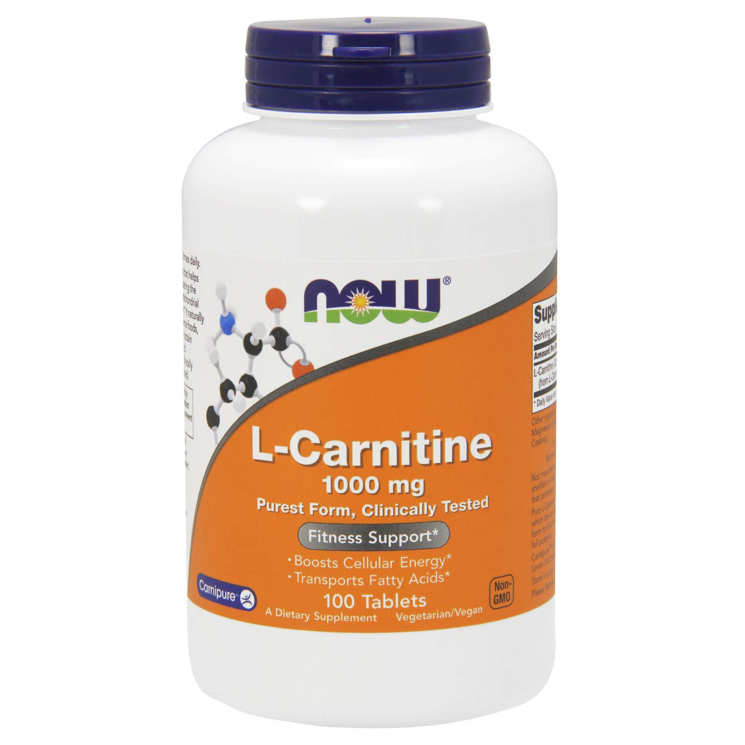 NOW Supplements, L-Carnitine 1,000 mg, Purest Form, Amino Acid, Fitness Support*, 100 Tablets