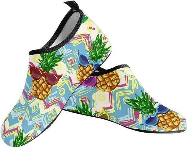 INTERESTPRINT Mens Water Shoes Pineapples Green Outdoor Beach Swimming Aqua Socks